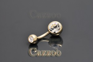 Vinde en zircon piercing Zircon guld 10mm navlepiercing